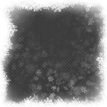 Christmas frame effect with white glowing light and snowflakes. EPS 10 vector file Ilustração Vetorial