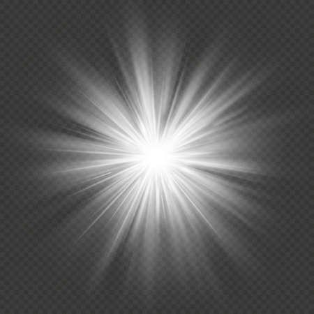 White glow star burst flare explosion transparent light effect. EPS 10 vector file Illustration
