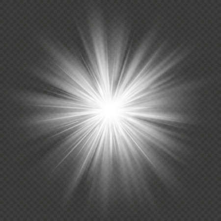 White glow star burst flare explosion transparent light effect. EPS 10 vector file Vectores