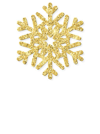 Merry Christmas card with gold glittering snowflake.