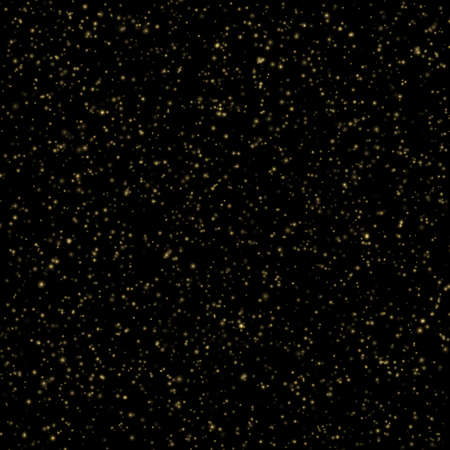 Abstract gold sparkle shine light confetti bokeh on glittering black background. Luxury shimmer texture template.