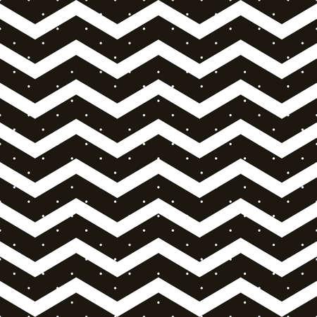 Lunares sin fisuras con patrón de zigzag de chevron. Raya geométrica con círculos. Simplemente suelte las muestras y disfrute del archivo vectorial EPS 10