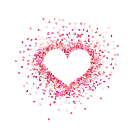 Heart shape paper confetti. Valentines petals top view. Isolated on white background. Çizim