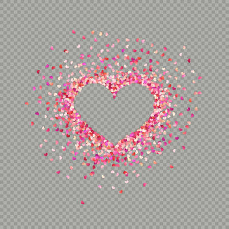 Heart shape paper confetti. Valentines petals top view. Isolated on transparent background.