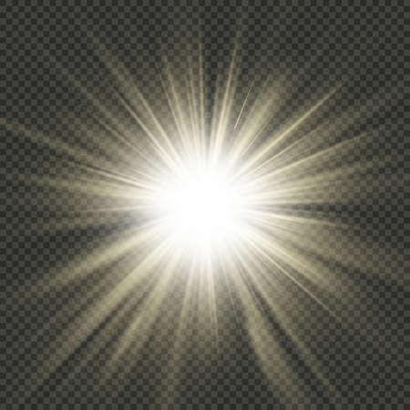 Rayos de explosión de estrellas. Efecto de luz. Aislado sobre fondo transparente. Archivo de vector EPS 10