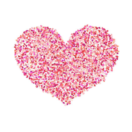 Heart shape color confetti. Valentines petals top view. Isolated on white background Çizim