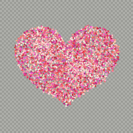 Heart shape color confetti. Valentines petals top view. Isolated on transparent background.