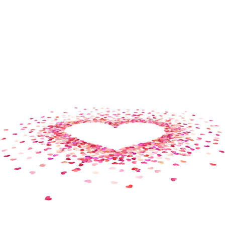 Heart shape paper confetti. Valentines petals top view. Isolated on white background. EPS 10 vector file