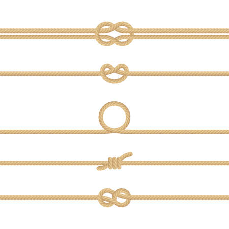 Set of different Nautical rope knots. Decoration elements on white background. EPS 10 vector file included