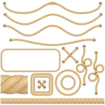 Realistic marine or nautical fiber ropes. Borders, frames sailing decoration elements. Knot twisted isolated object. EPS 10 vector file included Çizim