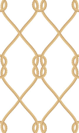 Seamless pattern of realistic nautical rope knot isolated on white. Texture for print or textile products, wrapper paper. EPS 10 vector file included