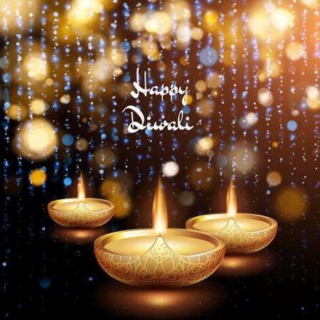 Happy Diwali illustration of burning diya. Holiday background. EPS 10 vector file included Çizim