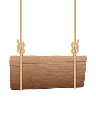 Wooden singboard hanging on ropes. EPS 10 vector file included Ilustração Vetorial