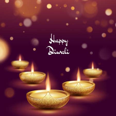 Happy diwali diya oil lamp template. Indian deepavali hindu festival of lights. EPS 10 vector file included Çizim