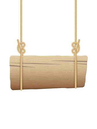 Wooden singboard hanging on ropes. EPS 10 vector file included
