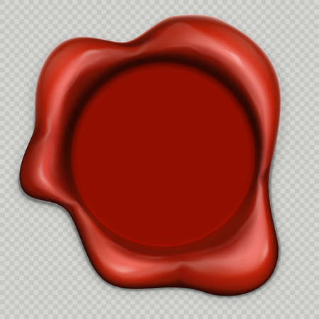 Realistic 3d wax stamp isolaed on transparent background. EPS 10 vector file included