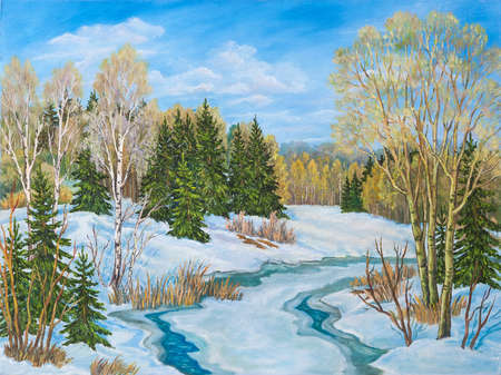 Winter blue sky landscape with river. Russia. Original oil painting.
