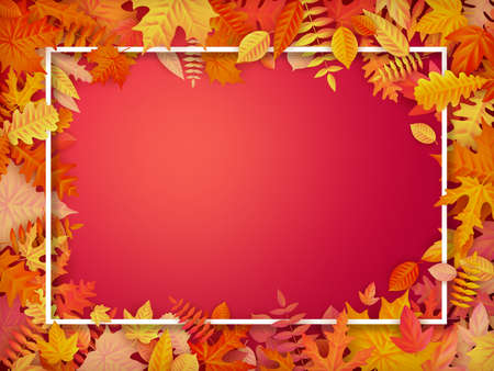 Autumn sale background layout in frame from leaves. Shopping sale or promo poster and frame leaflet or web banner. EPS 10