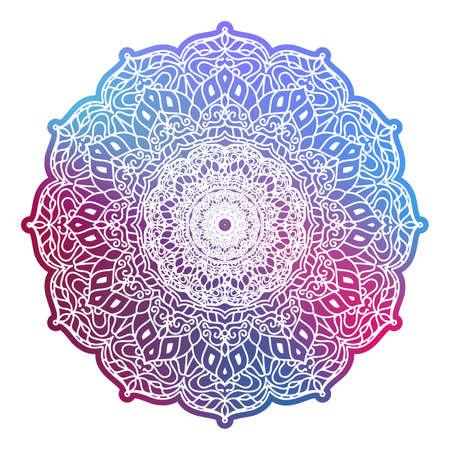 Mandala redondo colorido aislado. Elementos decorativos vintage. Patrón oriental. EPS 10