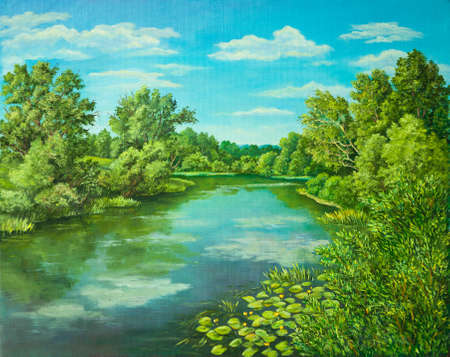 Summer rural landscape in Russia. Sunny day - calm blue summer river with reflection green grass and trees . Original oil painting on canvas. Author s painting. Stok Fotoğraf