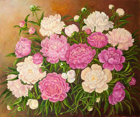 Still life with a bouquet of pink and white peonies. Original oil painting on canvas. Author s painting. Stok Fotoğraf