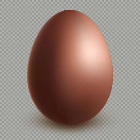 Decoration happy easter celebration template. Chocolate brown egg realistic dessert 3d object. Isolated on transparent background. EPS 10
