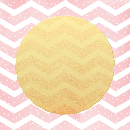 Greeting card template. Gold glitter foil dots confetti on striped white and pink background. EPS 10 Çizim
