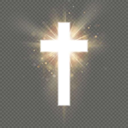 Shining white cross effect on transparent background. Shining saint cross.  イラスト・ベクター素材