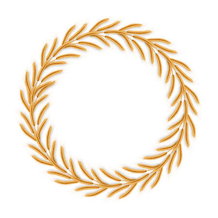 Wreath with wheat ears. Frame of spikelets. EPS 10