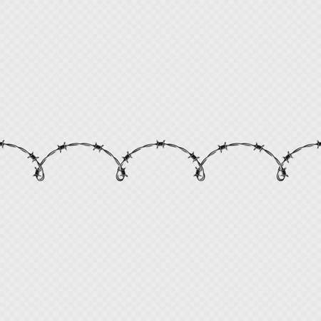 Metal barbed wire horizontal seamless border template and elements object. EPS 10 일러스트