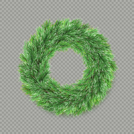 Christmas wreath decoration isolated on transparent background.