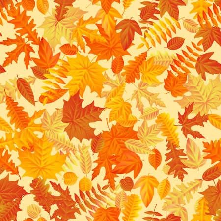 Autumn leaves background seamless pattern. Ilustração