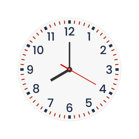 Realistic clock face with minute, hour numbers and second hand. Red center. Symbol watch isolated on white, to use for web and mobile UI.