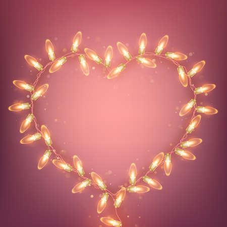 Realistic electric bulb in heart shaped frame. Valentines day pink holiday template.