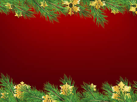 Winter holiday background with fir tree frame. Border with Christmas tree branches. Great for New Year posters, cards, headers, banners.
