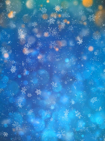 Blue blurred winter banner with snow flakes.