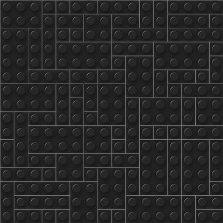 Seamless template of realistic dark plastic bricks. Construction blocks. Just drop to swatches and enjoy. Ilustração