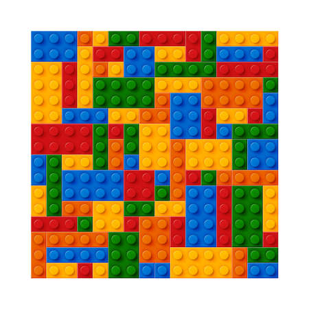 Seamless template of realistic colored plastic bricks. Construction blocks. It is easy to recolour. Just drop to swatches and enjoy. E Ilustração