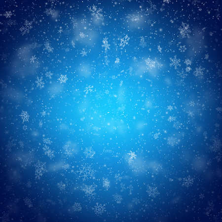 Christmas template with white blurred and clear snowflakes on blue background.