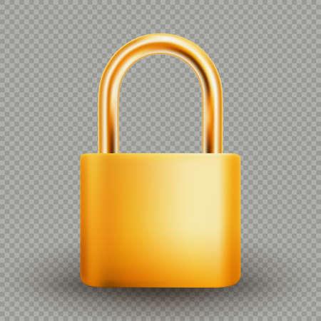 Metallic gold padlock, isolated on white background.