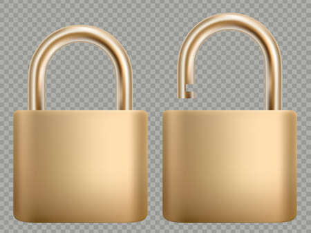 Padlock icon set. Steel and gold lock for protection privacy, web and mobile apps. Isoated on transparent background. Closed and open. Abstract concept graphic element. EPS 10 向量圖像