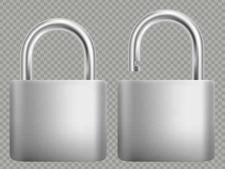 Padlock icon set. Steel and gold lock for protection privacy, web and mobile apps. Isoated on white background. Closed and open. Abstract concept graphic element. EPS 10