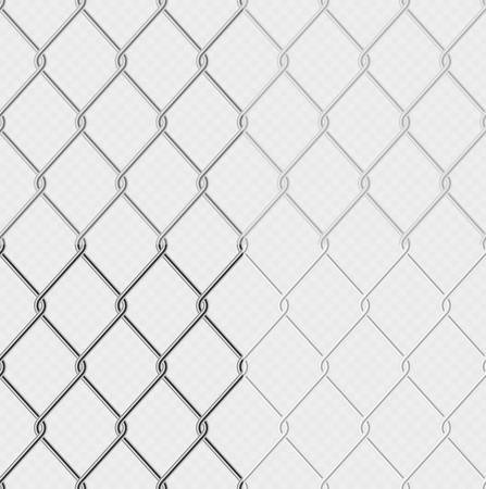 Set of effect - chain link fence wire mesh steel metal isolated on transparent background. Graphic element object for barrier, secured property. Normal, dark and light versions.