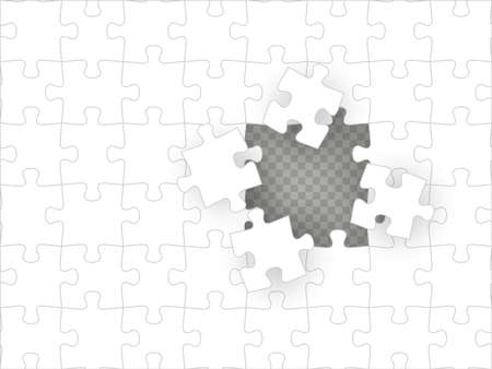 Blank white puzzle with hole isolated on transparent background. Concept image of unfinished task. Solution concept. EPS 10