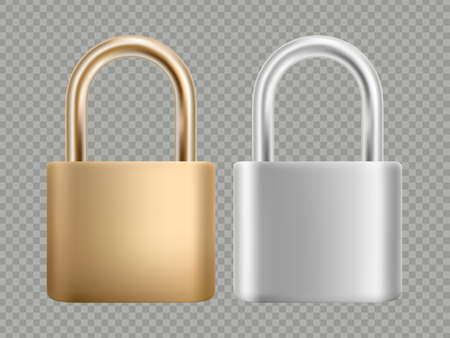 Padlock icon set. Steel and gold lock for protection privacy, web and mobile apps. Isolated on transparent background. Ilustração