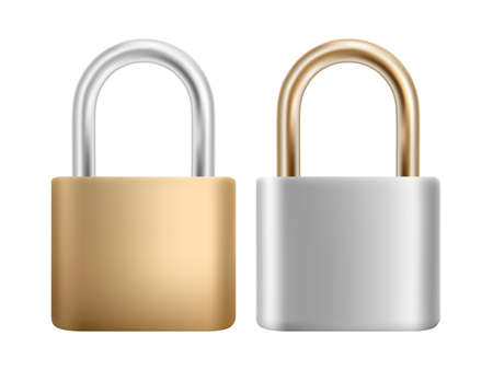 Padlock icon set. Steel and gold lock for protection privacy, web and mobile apps. Isoated on white background. EPS 10