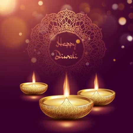 Happy diwali oil lamp template. Indian deepavali hindu festival of lights.