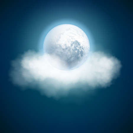 Full moon and clouds, night with moonlight sky background.