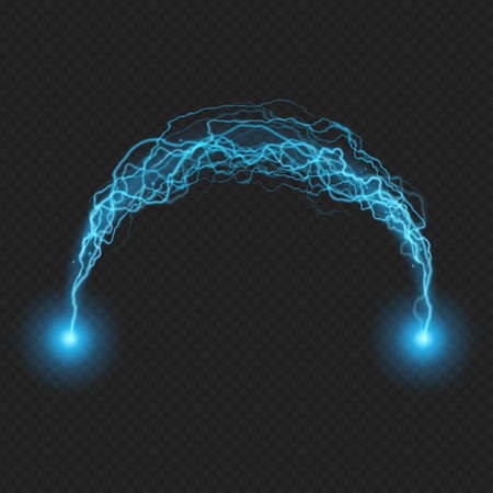 Lightning flash discharge of electricity on transparent background. Blue electrical visual effect. EPS 10