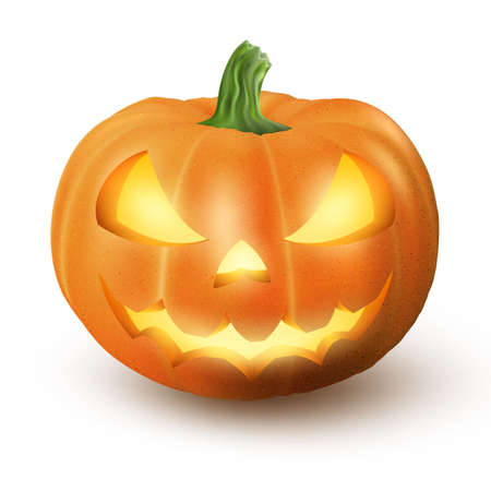 Lighten Jack O Lantern glowing Halloween realistic smile face pumpkin with candle light inside. isolated on white background. Scary expression.